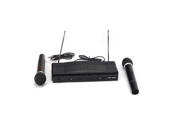 Σύστημα Καραόκε Karaoke με 2 μικρόφωνα και ασύρματο δέκτη με ενισχυμένη λήψη 2 καναλιών, WM-2004