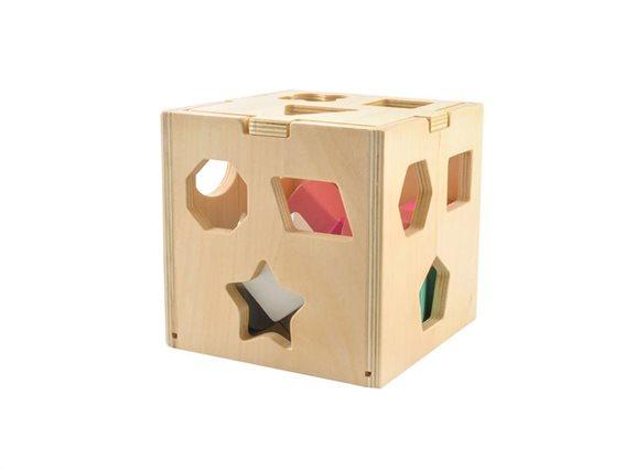 Ξύλινος Κύβος Εκπαιδευτικό Παιχνίδι με τουβλάκια, 14x14x14cm