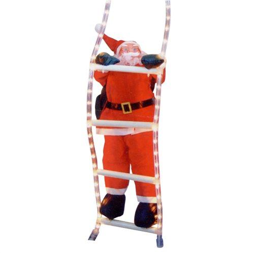Aria Trade Φουσκωτός Άγιος Βασίλης 38cm σε Σκάλα με Φωτοσωλήνα 1.5m 93-316