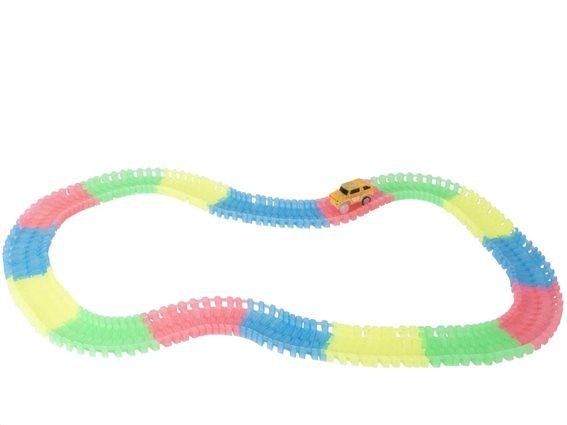 Σετ Μαγική Πίστα 165 τεμαχίων με Αυτοκινητάκι και Ράγες, Magic Race Track Eddy Toys 08169