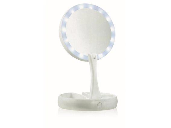 Πτυσσόμενος Μεγεθυντικός καθρέπτης 2 Όψεων  με Φωτισμό LED και τροφοδοσία USB, Cenocco