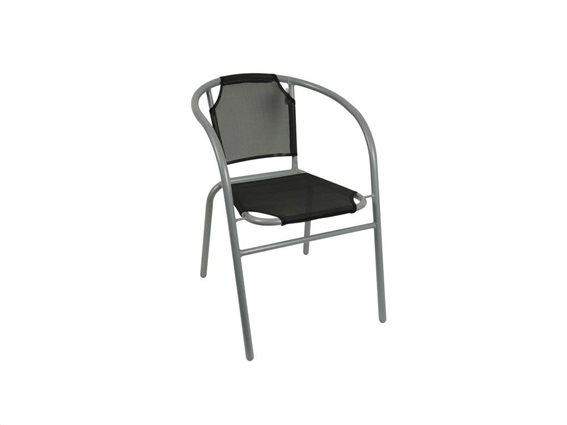 Μεταλλική Καρέκλα Μπιστρό με ύφασμα για εξωτερικό και εσωτερικό χώρο σε Μαύρο χρώμα