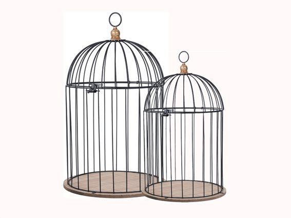 Σετ Διακοσμητικά Μεταλλικά Κλουβιά Πουλιών 2 τεμαχίων με Βάση από Ξύλο Και κλείστρο ασφαλείας