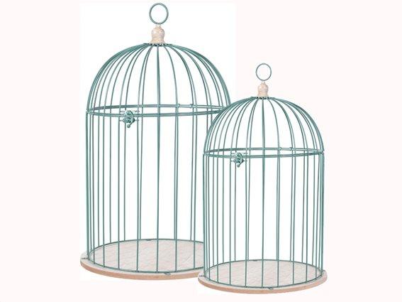 Σετ Διακοσμητικά Μεταλλικά Κλουβιά Πουλιών 2 τεμαχίων με Βάση από Ξύλο