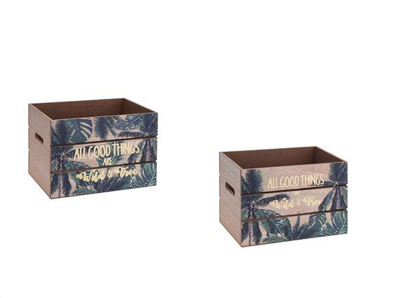 Ξύλινα καφάσια αποθήκευσης με Σχέδιο Φύλλα και Χρυσά Γράμματα Σετ των 2 Τεμαχίων