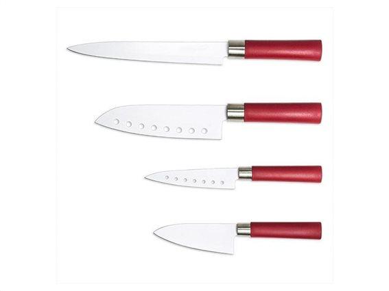 Σετ Μαχαίρια Κουζίνας Santoku 4 τεμαχίων με κεραμική επίστρωση Ιαπωνικό σχεδιασμό, Cecotec