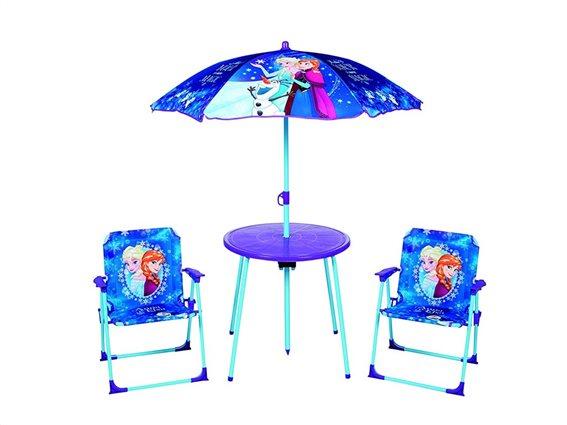 Disney Frozen Σετ Τραπέζι με Ομπρέλα και δύο καρέκλες με θέμα Frozen Anna