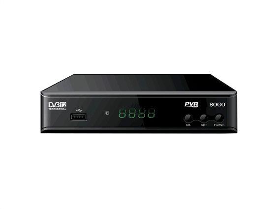 SOGO Αποκωδικοποιητής Τηλεόρασης DVB-T2 για FULL HD Ανάλυση και Θύρες HDMI και USB, DVB-SS-4420
