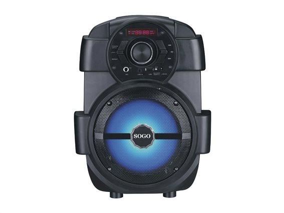 SOGO Φορητό Ασύρματο Bluetooth Ηχείο Καραόκε με σύστημα τρόλεϊ, Μικρόφωνο και LED Εφέ σε Μαύρο Χρώμα