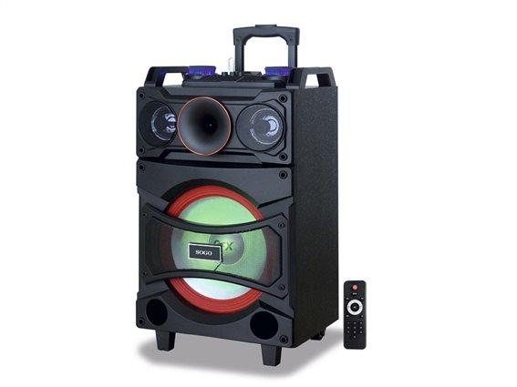SOGO Φορητό Ασύρματο Ηχείο Καραόκε με σύστημα τρόλεϊ, Μικρόφωνο και LED Φωτισμό σε Μαύρο Χρώμα