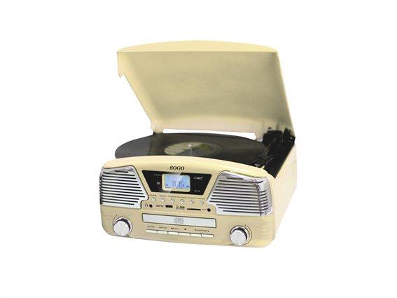 SOGO Φορητό Πικάπ με USB/SD/AUX-IN, Ραδιόφωνο, CD και Ξυπνητήρι σε Μπεζ χρώμα, MCD-SS-8575Y