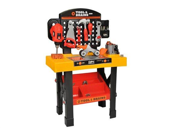 Tools & Brains Παιδικός Πάγκος Εργασίας Παιχνίδι μίμησης Εργαστήρι με εργαλεία για παιδιά 3+ ετών, 50x75x26cm