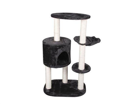 Ξύλινο Δέντρο Γάτας Ονυχοδρόμιο 3 επιπέδων με  κρυψώνα, 53x40x95cm σε Μαύρο Χρώμα