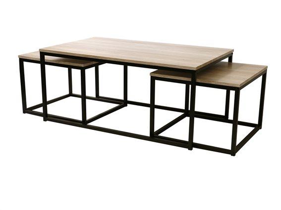 Σετ τραπεζάκια Σαλονιού μεταλλικής κατασκευής με ξύλινη επιφάνεια που στοιβάζονται, 100x60x45cm