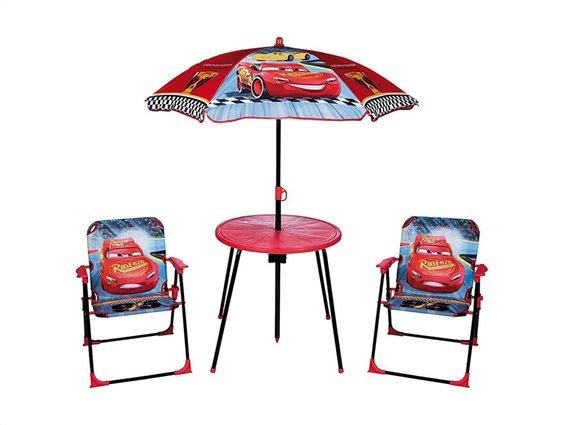 Disney Cars  Παιδικό Σετ κήπου βεράντας με Τραπέζι, Ομπρέλα και δύο καρέκλες