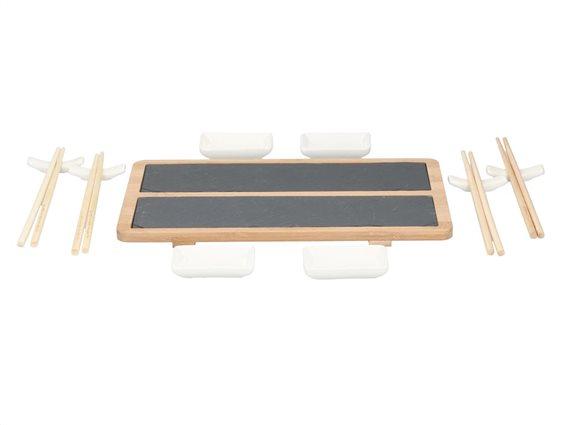 Sushi Σετ σερβιρίσματος 13 τεμαχίων με ξυλάκια, διπλή πλάκα σερβιρίσματος από σχιστόλιθο, Alpina