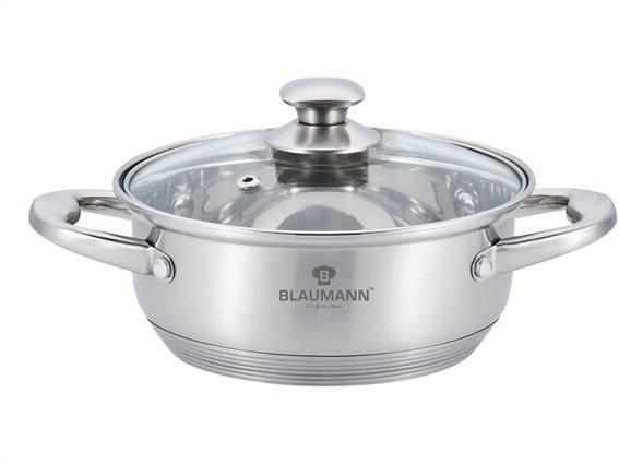 Blaumann Κατσαρόλα ρηχή 24cm με πάτο Induction και γυάλινο καπάκι, Satin Gourmet Line, BL-3310