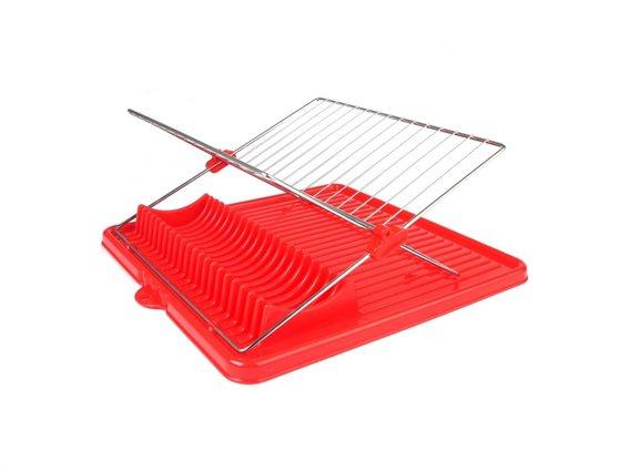 Πιατοθήκη οργάνωσης πιάτων, Στεγνωτήριο πιάτων, 35x35x17cm Κόκκινο