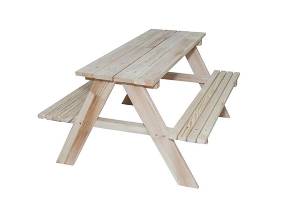 Παιδικό Ξύλινο τραπέζάκι κήπου πικ-νικ, με παγκάκια διαστάσεων 92 x 78 x 52 εκατοστά