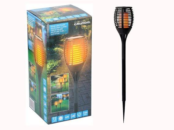 Grundig Solar Ηλιακός Πυρσός κήπου με Κινούμενη Φλόγα και σχέδιο Tribal με 72 LED, ύψους 78 εκατοστά