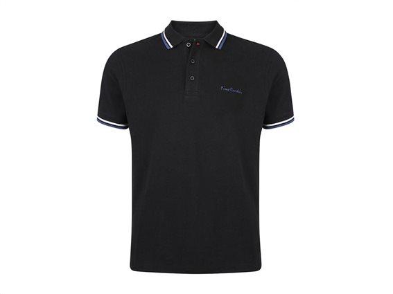 Pierre Cardin Ανδρικό Μπλουζάκι Polo T-shirt με κοντό μανίκι και κουμπιά σε Μαύρο Χρώμα XXLarge