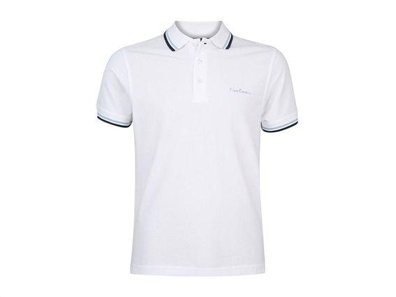 Pierre Cardin Ανδρικό Μπλουζάκι Polo T-shirt με κοντό μανίκι και κουμπιά σε Λευκό Χρώμα XXLarge