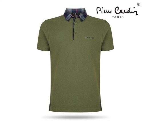Pierre Cardin Ανδρικό Μπλουζάκι Polo T-shirt με κοντό μανίκι κουμπιά και καρό γιακά σε Πράσινο χρώμα Small