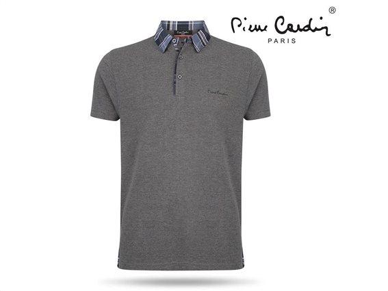 Pierre Cardin Ανδρικό Μπλουζάκι Polo T-shirt με κοντό μανίκι κουμπιά και καρό γιακά σε ανθρακί χρώμα Medium