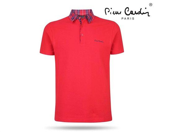 Pierre Cardin Ανδρικό Μπλουζάκι Polo T-shirt με κοντό μανίκι κουμπιά και καρό γιακά σε κόκκινο χρώμα Small