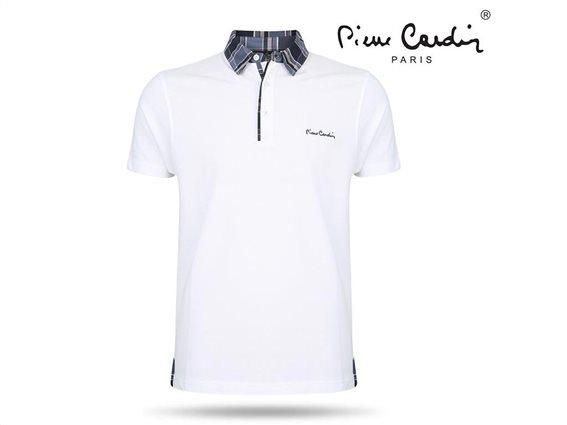 Pierre Cardin Ανδρικό Μπλουζάκι Polo T-shirt με κοντό μανίκι κουμπιά και καρό γιακά σε λευκό χρώμα Small