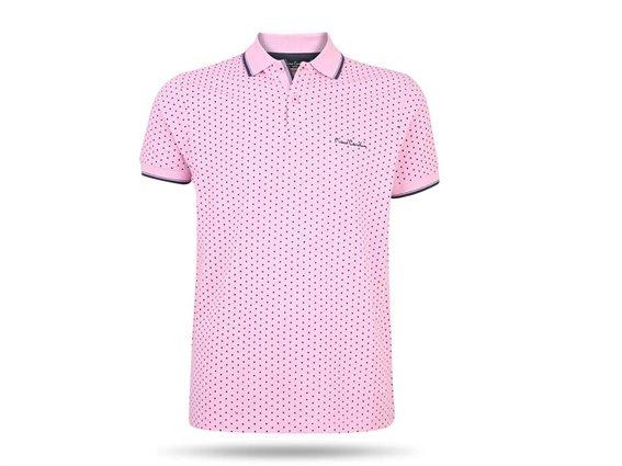 Pierre Cardin Ανδρικό Μπλουζάκι Polo T-shirt με κοντό μανίκι κουμπιά και πουά σχέδιο σε ροζ χρώμα-Small