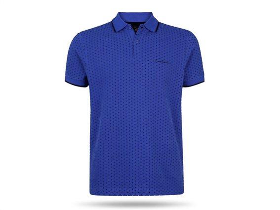 Pierre Cardin Ανδρικό Μπλουζάκι Polo T-shirt με κοντό μανίκι κουμπιά και πουά σχέδιο σε μπλε χρώμα Medium