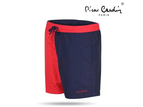Pierre Cardin Ανδρικό Μαγιό Βερμούδα με λάστιχο στη μέση δίχτυ και τσέπη σε κόκκινο μπλε χρώμα Small