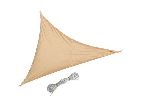 Αντηλιακή Τριγωνική Τέντα Σκίαστρο, από πολυεστέρα, σε μπεζ χρώμα, με διαστάσεις 3.6x3.6x3.6 μέτρα