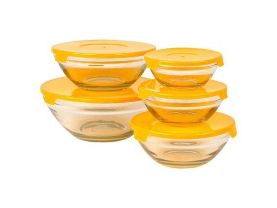 Σετ 5 τεμαχίων Γυάλινο Μπολ Αποθήκευσης τροφίμων, σε 5 διαστάσεις Πορτοκαλί