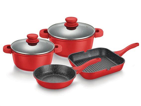 Muhler Σετ Μαγειρικά Σκεύη 6 τεμ., σε κόκκινο χρώμα, MR-6047G
