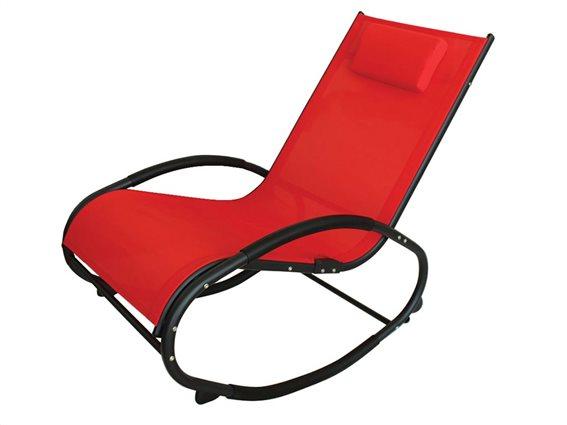 Ελλειπτική Κουνιστή Καρέκλα  με μεταλλικό μαύρο σκελετό και κόκκινο κάλυμμα, 151x62x91 εκατοστά