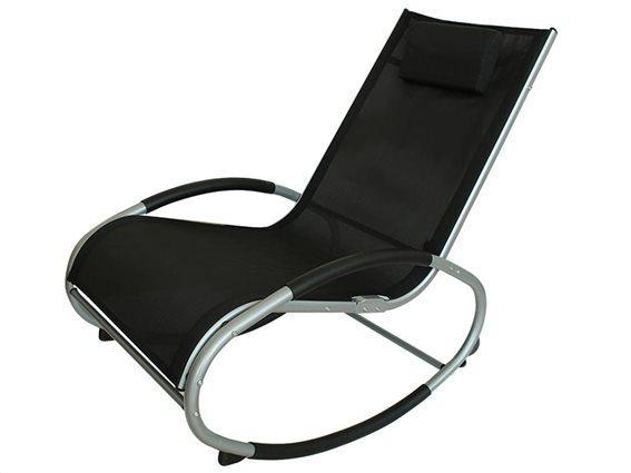 Ελλειπτική Κουνιστή Καρέκλα με μεταλλικό μαύρο σκελετό και μαύρο κάλυμμα, 151x62x91 εκατοστά