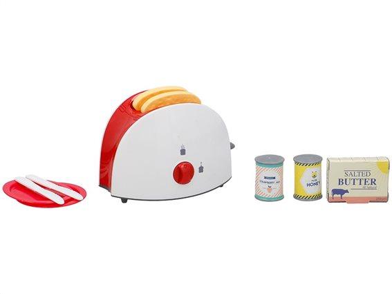 Eddy Toys Παιδική φρυγανιέρα με 10 αξεσουάρ πρωινού, σε λευκό-κόκκινο χρώμα,  33x12.5x24.5cm