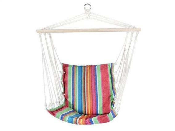 Αιώρα κάθισμα, Υφασματινη πολυθρόνα κούνια μονή, με πολυχρωμες ρίγες,  57x50x50 cm