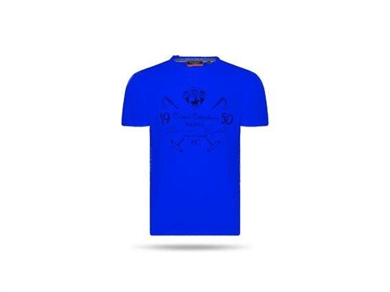 Pierre Cardin Ανδρικό μπλουζάκι T-shirt με τυπωμένη στάμπα και κοντό μανίκι σε χρώμα μπλε σκούρο Small