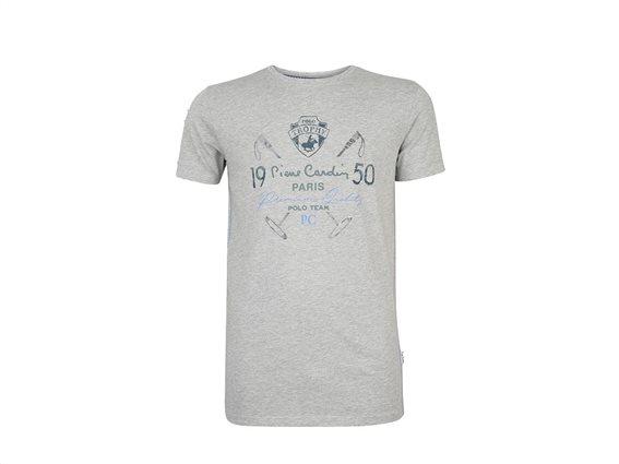 Pierre Cardin Ανδρικό μπλουζάκι T-shirt με τυπωμένη στάμπα και κοντό μανίκι σε χρώμα γκρι XXLarge