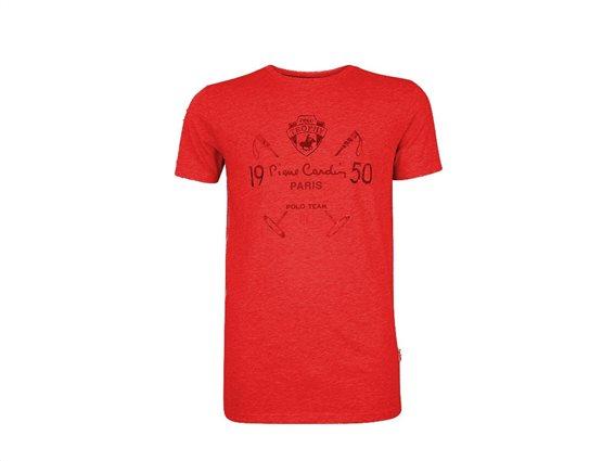Pierre Cardin Ανδρικό μπλουζάκι T-shirt με τυπωμένη στάμπα και κοντό μανίκι σε χρώμα κόκκινο XLarge