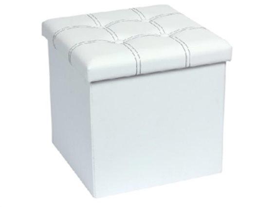 Muhler Σκαμπό Πτυσσόμενο 38x38x38 εκατοστά  με αποθηκευτικό χώρο, σε λευκό χρώμα, 1000834