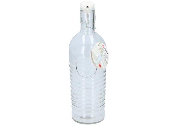 Alpina γυάλινο μπουκάλι νερού 1 Λίτρο, με έλασμα για αεροστεγές κλείσιμο, 14932