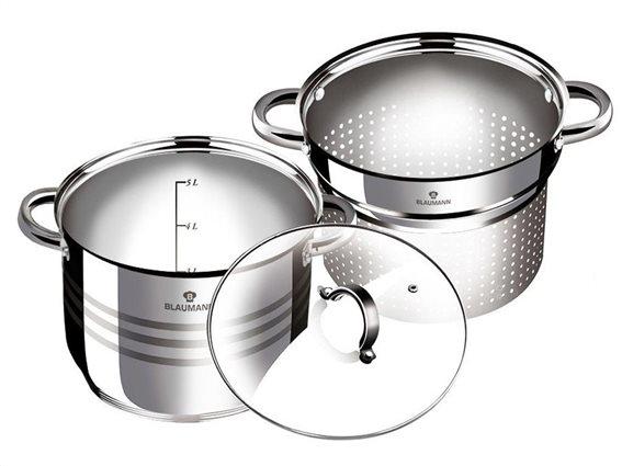 Blaumann σετ μαγειρικά σκεύη κατσαρόλα με σουρωτήρι 2 σε 1, Gourmet Line BL-3132