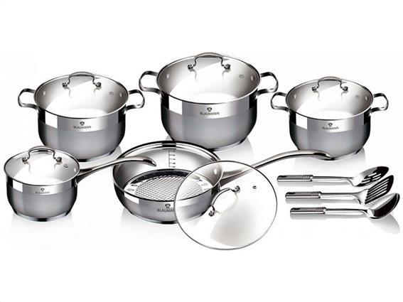 Blaumann Σετ μαγειρικά σκεύη 13 τεμαχίων από ανοξείδωτο ατσάλι, Gourmet Line, BL-3196