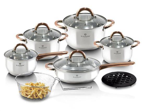 Blaumann Σετ μαγειρικά σκεύη 13 τεμαχίων από ανοξείδωτο ατσάλι, Gourmet Line BL-3244