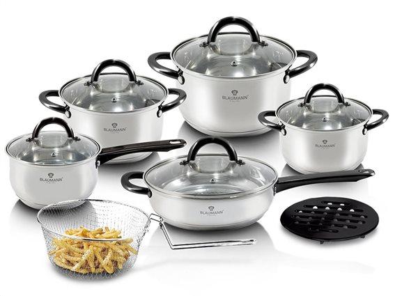 Blaumann Σετ μαγειρικά σκεύη 13 τεμαχίων από ανοξείδωτο ατσάλι, Gourmet Line, BL-3245