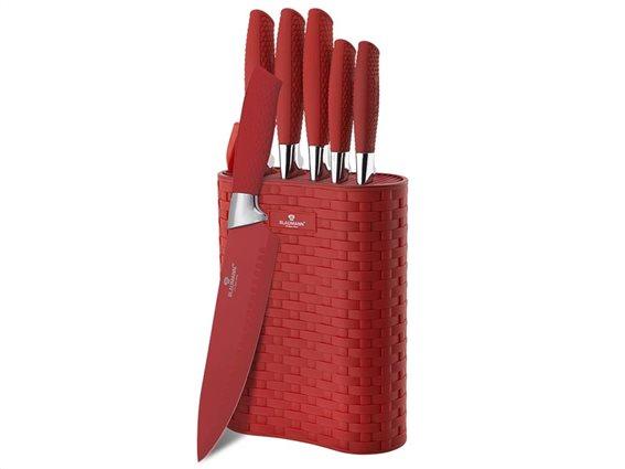Blaumann σετ μαχαίρια 6 τεμάχια από ανοξείδωτο ατσάλι, σε κόκκινο χρώμα, BL-5057